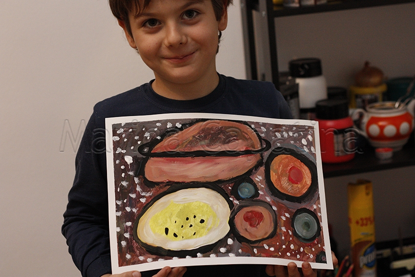 Grup 6-8 ani, Pictura  Tempera- Planete,  David.