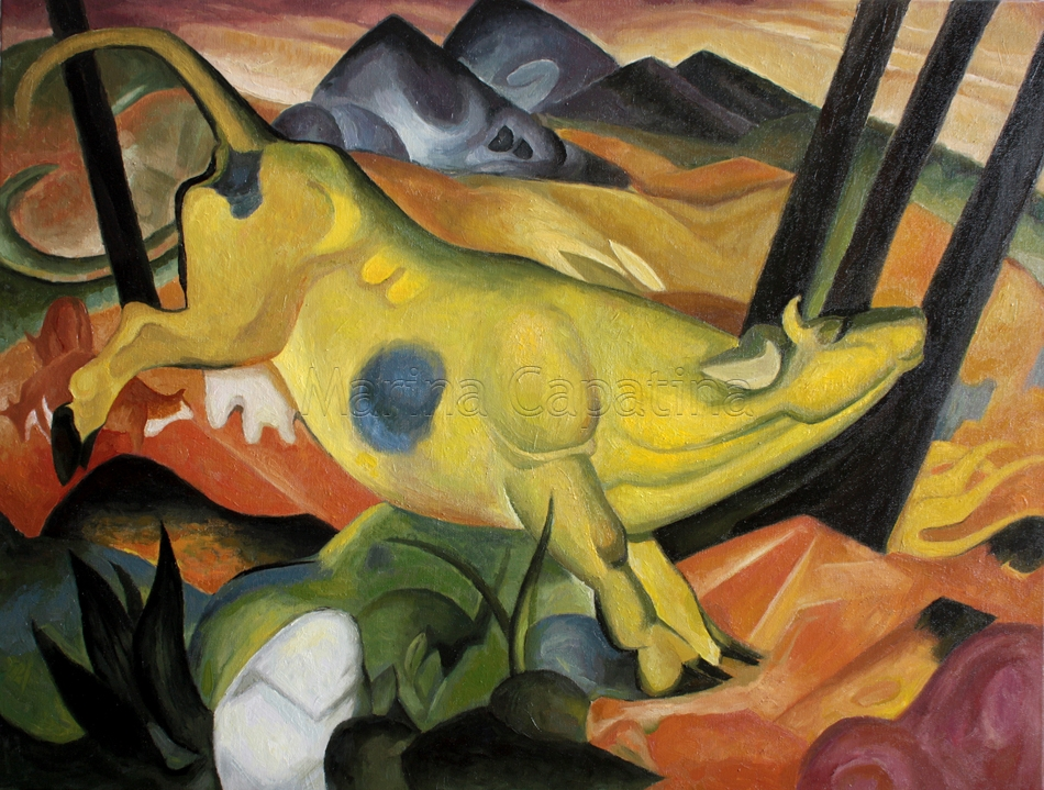 vaca galbena Yellow Cow, Franz Marc (reproducere)