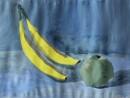 Natura statica cu banane si mar Columb 130x98 Invatam arta
