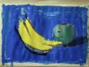 Natura statica cu banane si mar Vladut 130x98 Invatam arta