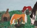 Compozitie cu animale cai Alexia 9 ani 130x98 Meditatii de pictura si desen