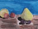 Natura statica cu fructe Alexia 9 ani 130x98 Meditatii de pictura si desen