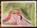 Scoala De Vara Desen Pastel Cretat Gradina Zoologica Studiu Animale Flamingo Razvan 130x98 Scoala de Vara, 2015