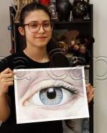 Clasa 14 18 ani Pastel Cretat Studiu Ochi Irisz. 150x187 Rezultate de exceptie la cursurile de pictura si desen