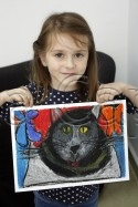 Clasa 4 6 ani Desen Pastel Uleios Pisica Alessia. 125x187 Rezultate de exceptie la cursurile de pictura si desen