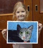 Clasa 4 6 ani Desen Pastel Uleios Pisica Sonia. 169x187 Rezultate de exceptie la cursurile de pictura si desen