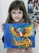 Clasa 4 6 ani Pictura Acrilic Pasarea Phoenix Maia. 137x187 Rezultate de exceptie la cursurile de pictura si desen
