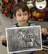 Clasa 6 8 ani Desen Carbune Zebra Andrei. 164x187 Rezultate de exceptie la cursurile de pictura si desen