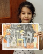 Clasa 6 8 ani Desen Creioane Colorate Muzicanti Theodora. 150x187 Rezultate de exceptie la cursurile de pictura si desen