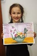 Clasa 6 8 ani Pictura Tempera Ceainic cu Trandafiri Tatiana. 125x187 Rezultate de exceptie la cursurile de pictura si desen