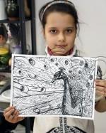 Clasa 8 10 ani Desen Penita Paun Alexandra. 150x187 Rezultate de exceptie la cursurile de pictura si desen