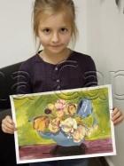 Clasa 8 10 ani Pictura Tempera Ceainic cu Trandafiri Palina. 140x187 Rezultate de exceptie la cursurile de pictura si desen