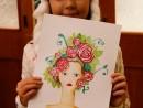 Atelier design vestimentar Palarie cu chip Pictura in acuarela Vanessa 130x98 Atelier design vestimentar, Copii 8 18 ani