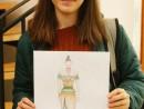Design Vestimentar Creatie tinuta contemporana Desen in creioane cerate Catinca 130x98 Atelier design vestimentar, Copii 8 18 ani