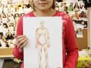 Design Vestimentar Geometrizarea corpului uman in creioane cerate Alexia 130x98 Atelier design vestimentar, Copii 8 18 ani