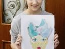 Design Vestimentar Palarie cu chip in acuarela Otilia 130x98 Atelier design vestimentar, Copii 8 18 ani