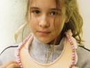 Design Vestimentar Realizare colier cusut cu margele Maria Carina 130x98 Atelier design vestimentar, Copii 8 18 ani