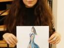 Design Vestimentar Schita profil feminin in creioane cerate Ana Maria 130x98 Atelier design vestimentar, Copii 8 18 ani