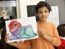 Design vestimentar Pictura in acuarele Studiu drapaj cu palarie Sara 130x98 Atelier design vestimentar, Copii 8 18 ani